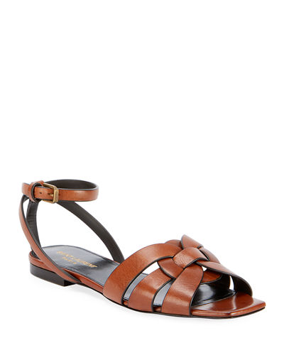 Nu Pieds Woven Leather Ankle-Strap Flat Sandals