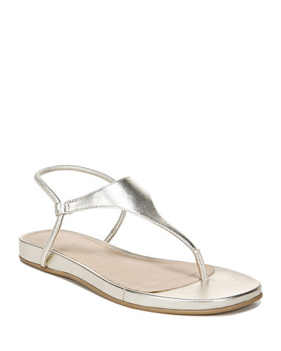 Pixey Flat Metallic Leather Thong Sandals