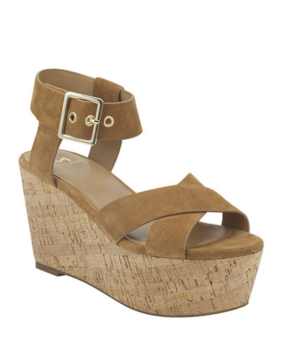 Cacie Suede Ankle-Strap Wedge Sandals