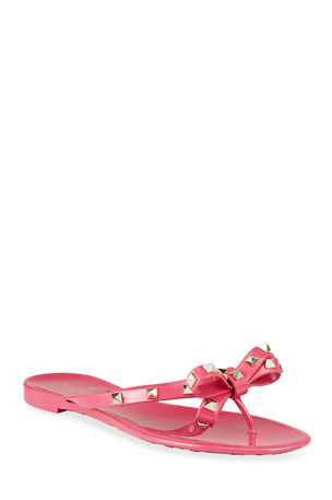 Valentino Garavani Rockstud Jelly Bow Thong Sandals