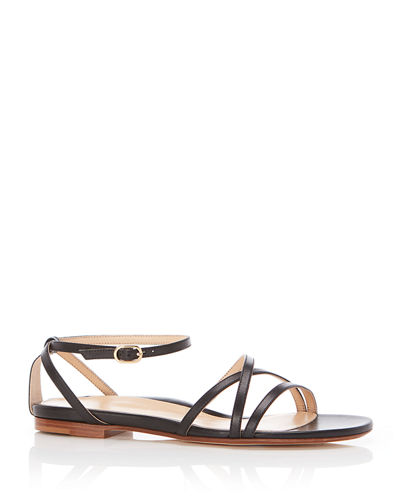 Jackie Strappy Ankle-Strap Flat Sandals