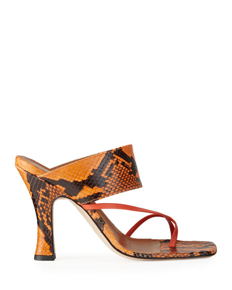 Image 3 of 5: Paris Texas 95mm Python-Print Crossover Thong Sandals