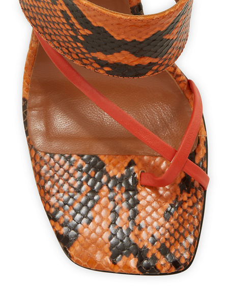 Image 4 of 5: Paris Texas 95mm Python-Print Crossover Thong Sandals