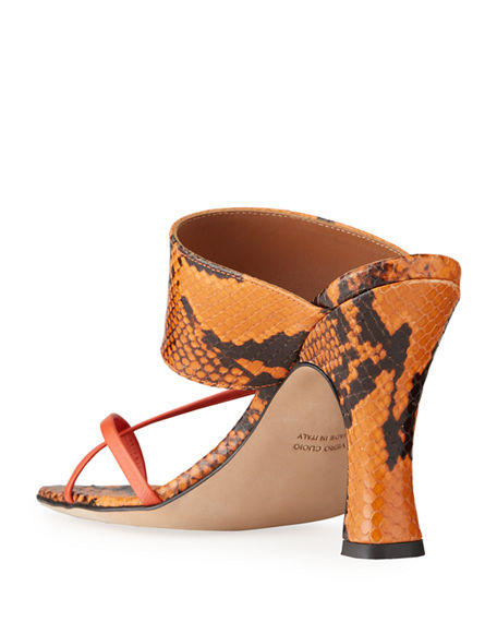 Image 5 of 5: Paris Texas 95mm Python-Print Crossover Thong Sandals