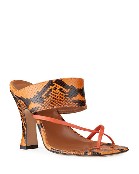 Image 1 of 5: Paris Texas 95mm Python-Print Crossover Thong Sandals