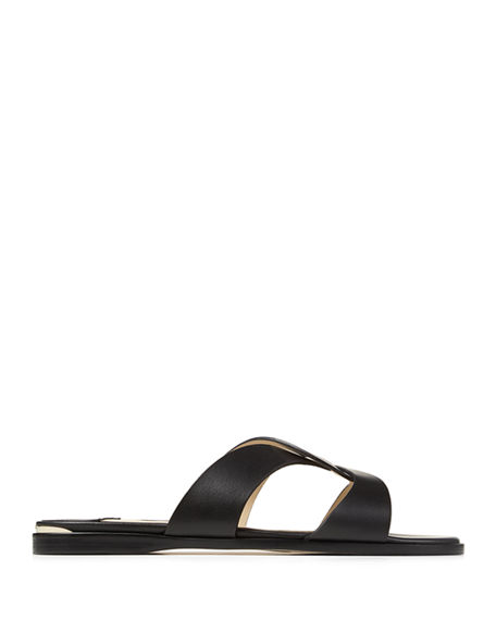 Image 2 of 4: Jimmy Choo Atia Crisscross Flat Slide Sandals
