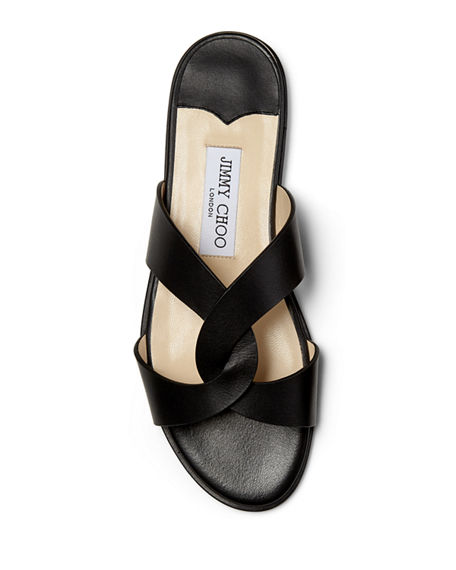 Image 3 of 4: Jimmy Choo Atia Crisscross Flat Slide Sandals