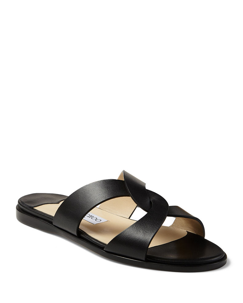 Jimmy Choo Atia Crisscross Flat Slide Sandals
