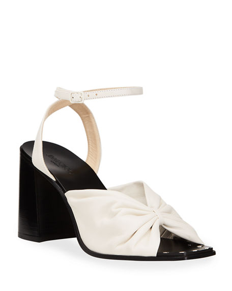 Jimmy Choo Jasie Pleated Leather Ankle-Strap Sandals