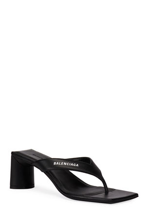 Balenciaga Double Square Block-Heel Leather Thong Sandals