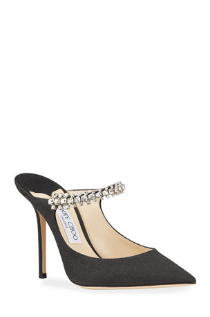 Jimmy Choo Bing 100mm Glitter Leather Mules