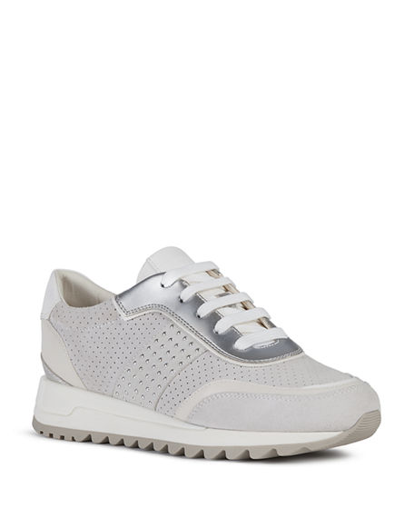Geox Tabelya Mixed Leather Trainer Sneakers