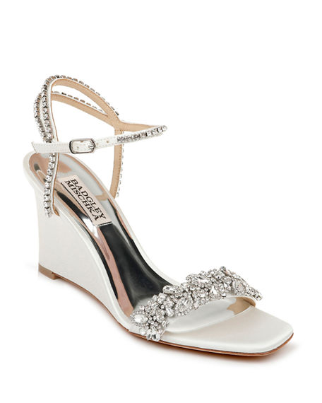 Badgley Mischka Jenna Embellished Satin Wedge Sandals