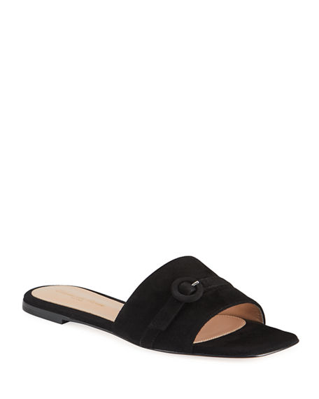 Gianvito Rossi Suede Buckle Flat Slide Sandals