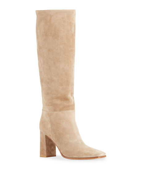 Gianvito Rossi 85mm Suede Square-Toe Knee Boots