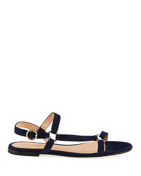 Image 2 of 4: Gianvito Rossi Flat Suede Sandals with Ring Detail