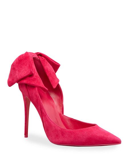 Christian Louboutin Rabakate Suede Bow Red Sole Pumps