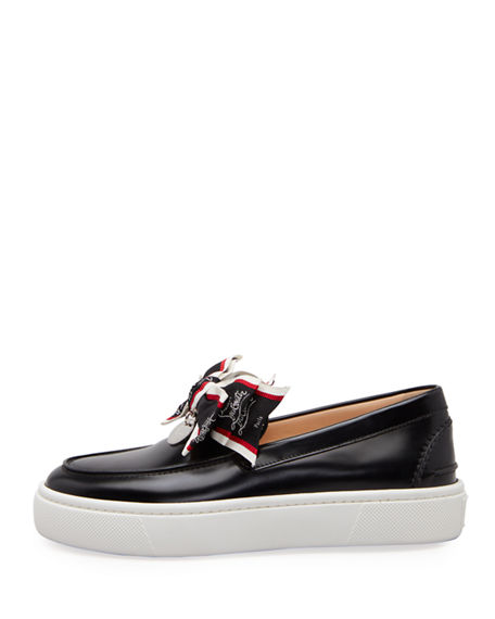 Image 2 of 3: Christian Louboutin Ferry Bow Leather Boat Sneakers