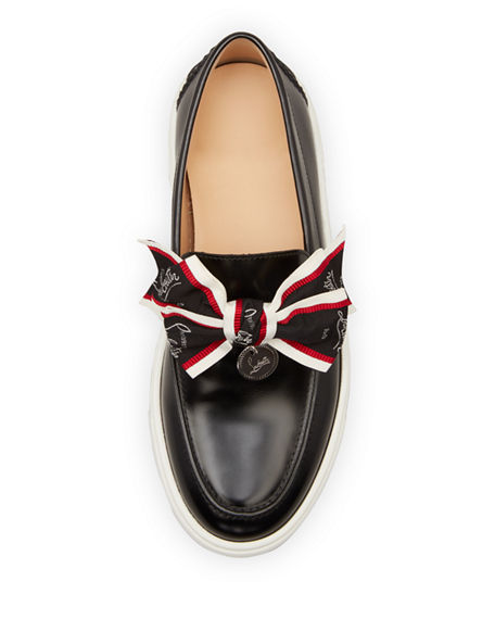 Image 3 of 3: Christian Louboutin Ferry Bow Leather Boat Sneakers