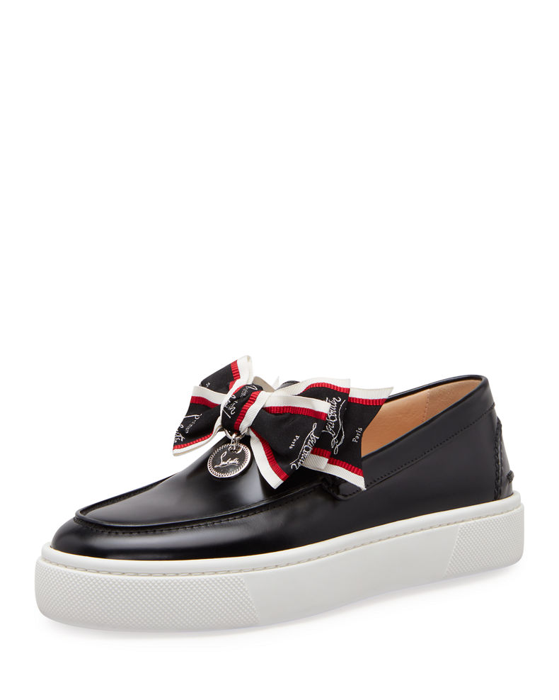 Christian Louboutin Ferry Bow Leather Boat Sneakers