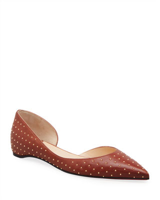 SIGERSON MORRISON Studded Pointed Toe Flat in Black//Silver Size 6 US