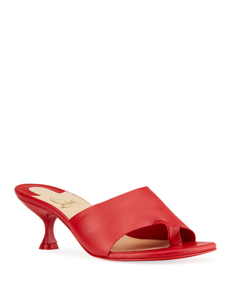 Christian Louboutin Viva Cancan Red Sole Slide Sandals