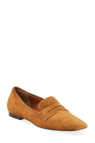 Khaite Carlisle Suede Penny Loafer