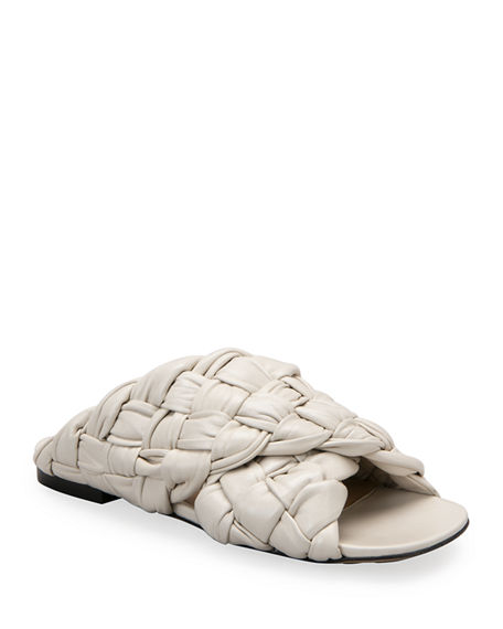 Bottega Veneta Flat Woven Shiny Leather Crisscross Sandals
