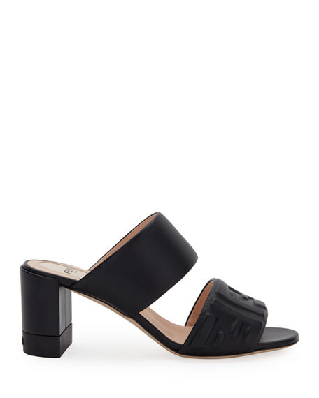 Image 2 of 4: Fendi FF Leather Two-Band Slide Sandals