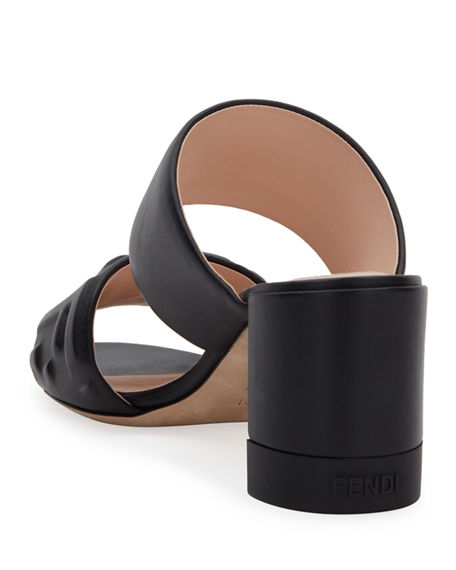 Image 4 of 4: Fendi FF Leather Two-Band Slide Sandals