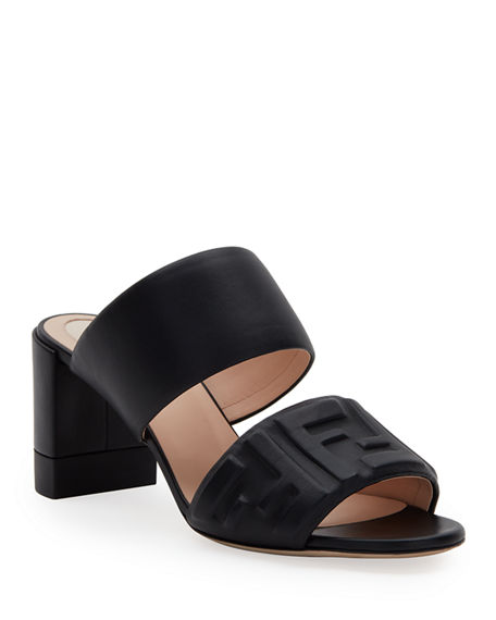 Image 1 of 4: Fendi FF Leather Two-Band Slide Sandals