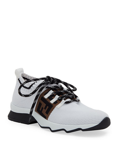 Fendi FF Knit Sock Lace-Up Trainer Sneakers