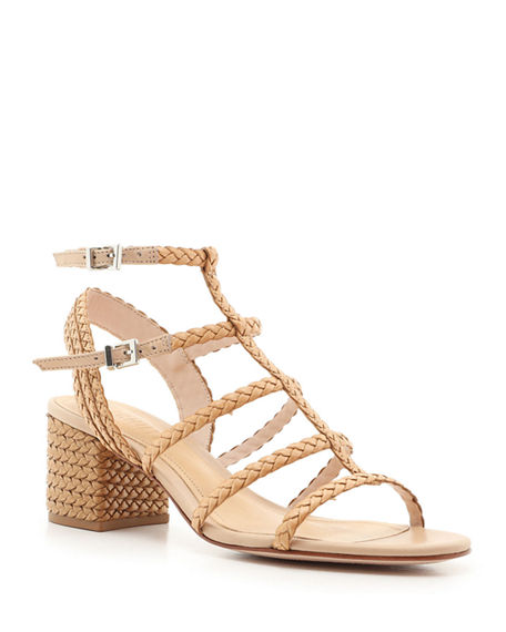 Schutz Clarcie Braided Caged Block-Heel Sandals