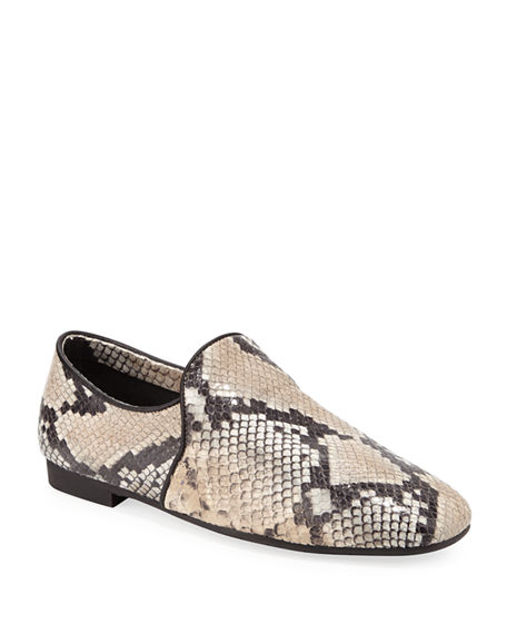 Image 1 of 3: Aquatalia Revy Flat Snake-Print Loafers