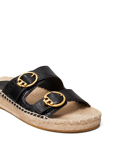 Selby Double-Buckle Espadrille Flat Sandals