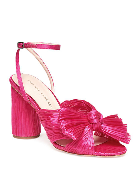 Loeffler Randall Camellia Pleated Knot Ankle-Strap Sandals