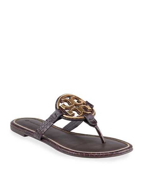 Tory Burch Miller Mock-Croc Metal Logo Slide Sandals