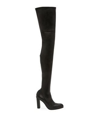 Ladies Over The Knee Boots Womens Block High Heel Black Stretch Lycra Shoes Size