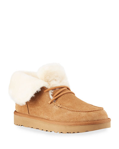 Diara Suede Lace-Up Booties w/ Shearling Cuff