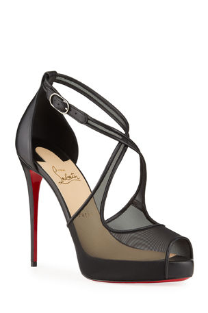 Christian Louboutin Mariacar Mesh Red Sole Platform Sandals
