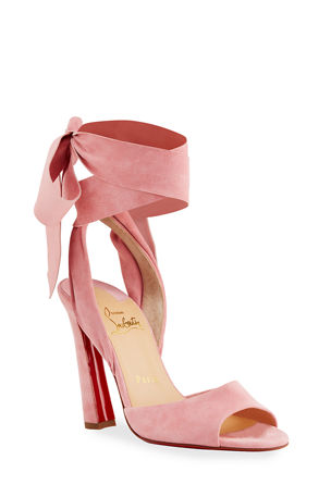 Christian Louboutin Rose Amelie Ankle-Wrap Red Sole Sandals