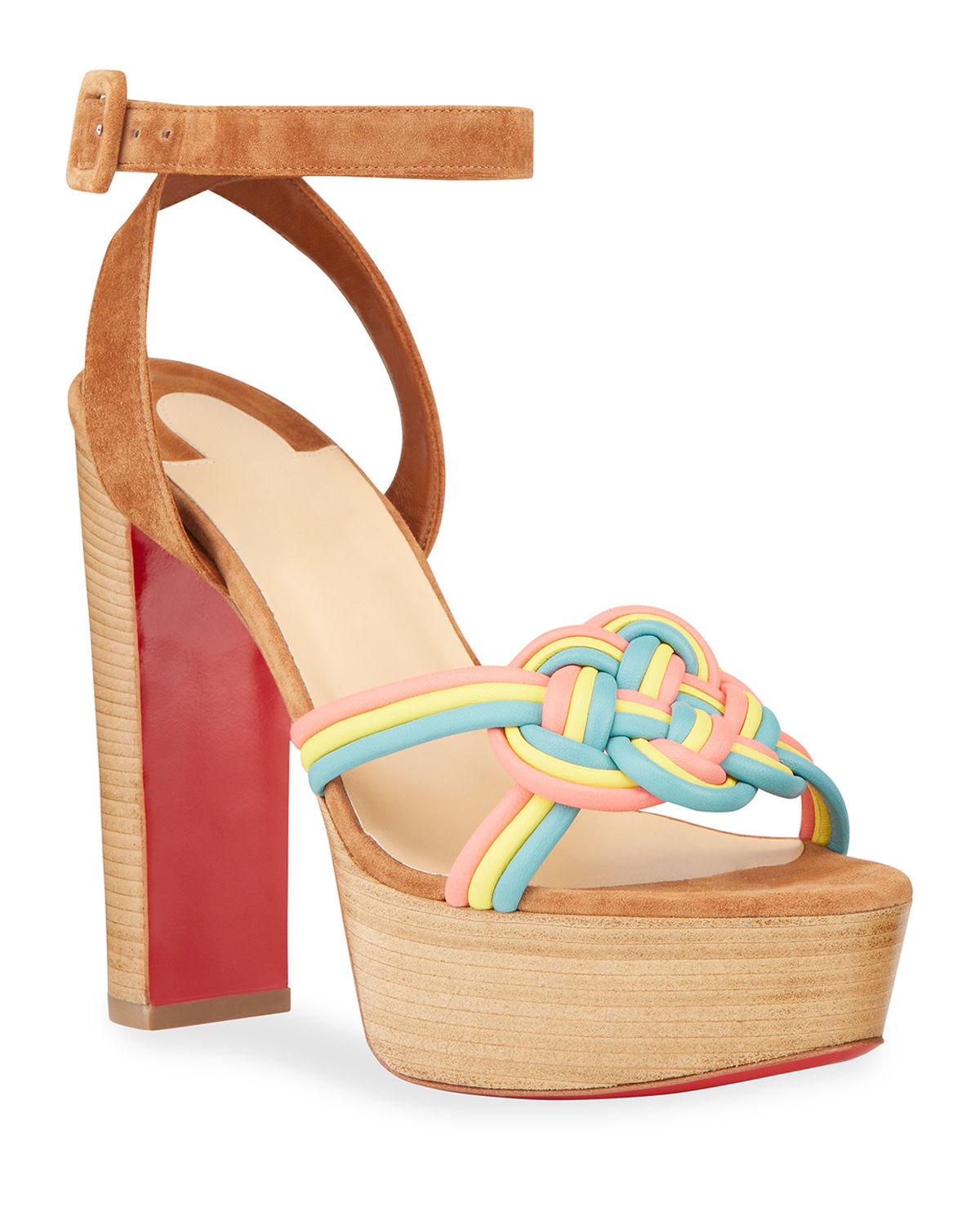 Christian Louboutin ELLA MULTICOLOR BRAIDED PLATFORM RED SOLE SANDALS