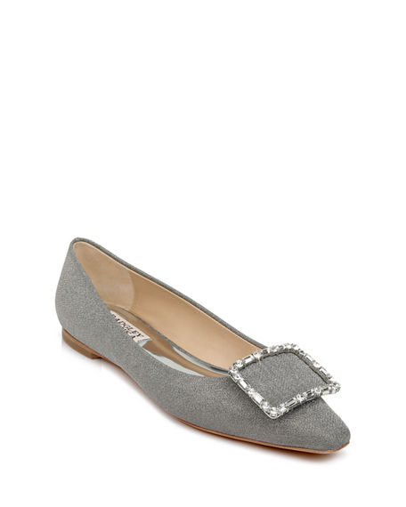 Badgley Mischka Dyanne Satin Crystal Buckle Ballerina Flats