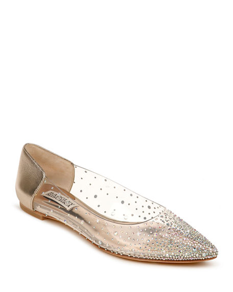 Badgley Mischka Gabi Studded Clear Ballerina Flats