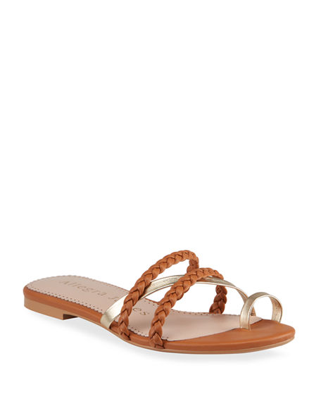 Allegra James Lucy Bicolor Flat Slide Sandals