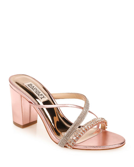 Badgley Mischka Zoraya Metallic Embellished Slide Sandals