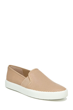 Vince Blair Perforated Leather Slip-On Sneakers