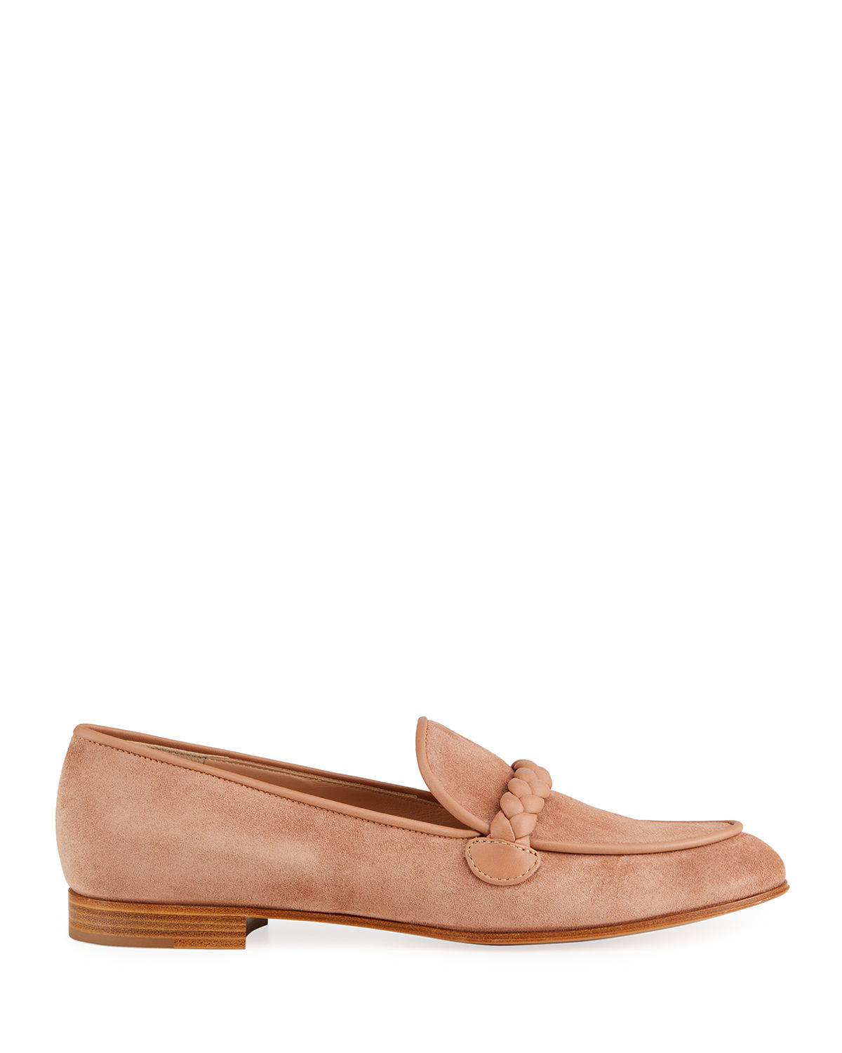 Suede Braided Flat Loafers