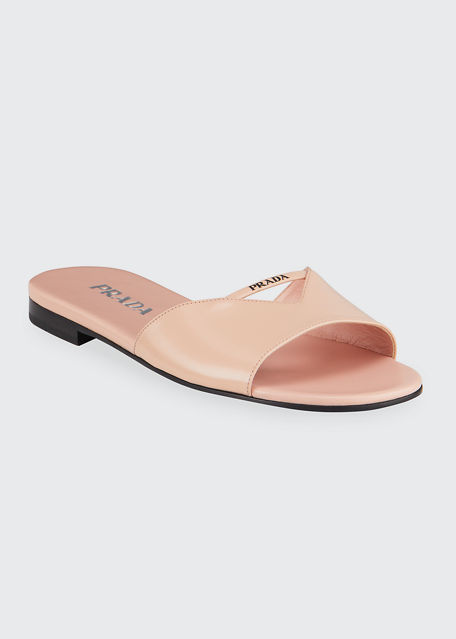 Prada Leather Logo Flat Slide Sandals
