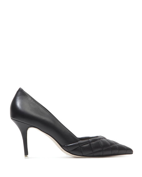 Image 2 of 3: Black Suede Studio Dana Quilted Leather Stiletto Pumps